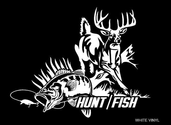 Hunting and fishing decal by smalltownnecreations on etsy for Hunting and fishing decals