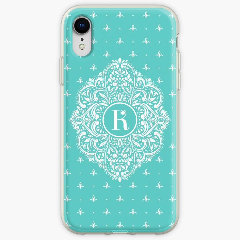 'Personalized monogram with initial letter K. Turquoise