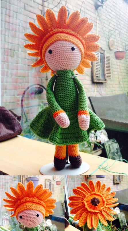 Giant Onion Otto flower doll - crochet pattern by Zabbez - amigurumi | 805x446