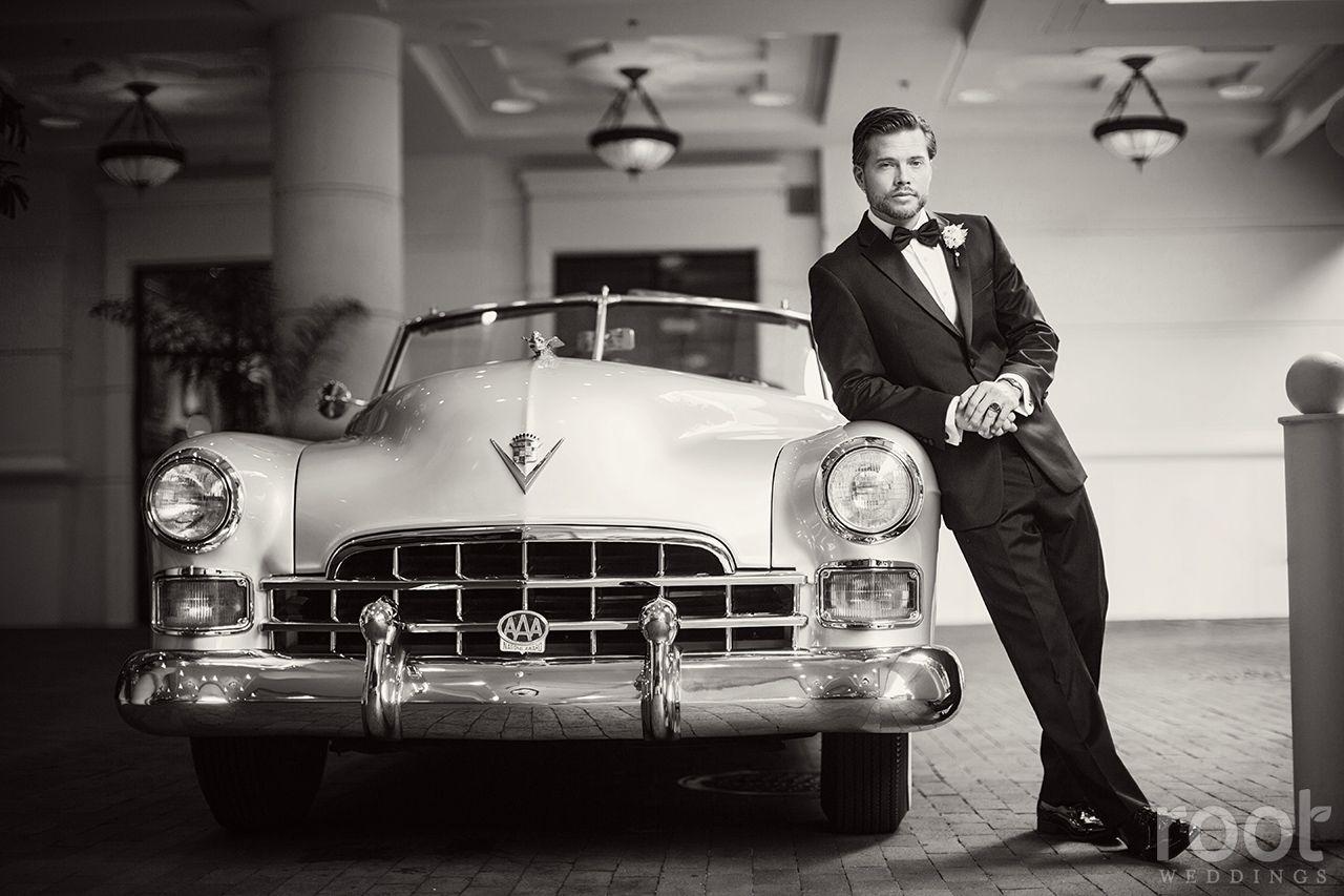 Groom and a vintage car root_weddings