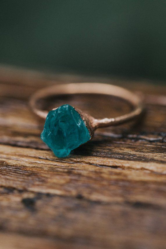 Photo of Alternative engagement ring Rohstein engagement ring   Unique engagement ring Boho wedding rings   Blue apatite engagement ring