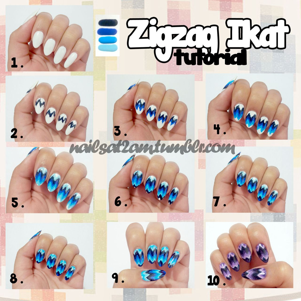 Zigzag ikat nail tutorial by nails at 2 am the beauty of nail zigzag ikat nail tutorial have ready 4 different shades of blue or other polish a white polish top coat and a striping brush thin paint brush prinsesfo Gallery
