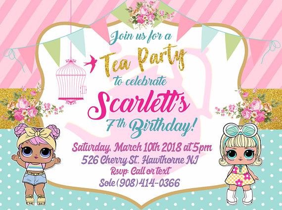 New L O L Surprise Tea Party Theme Birthday Invitation