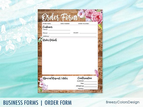 Rustic Order Form Template For Crafts, Wooden Sales Worksheet