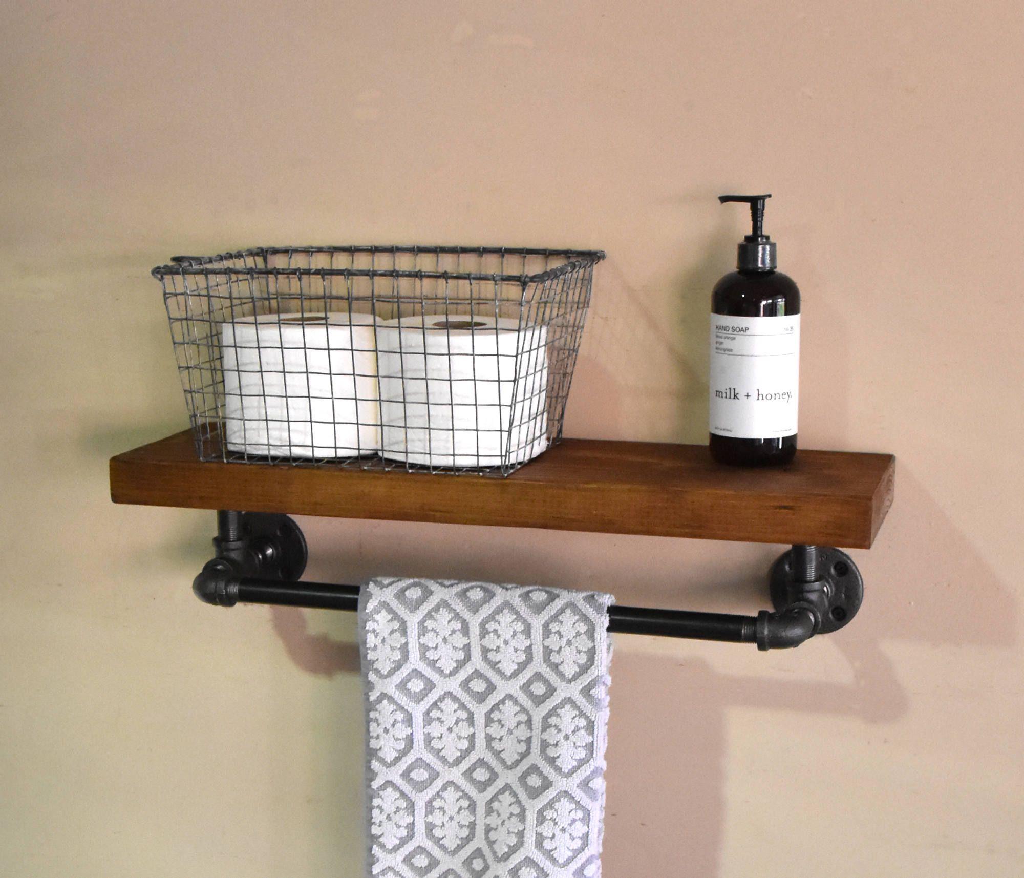 Bathroom Floating Shelve Towel Rack Industrial Floating Shelf With Towel Bar Rust Rustic Bathroom Shelves Rustic Floating Shelves Floating Shelves Bathroom