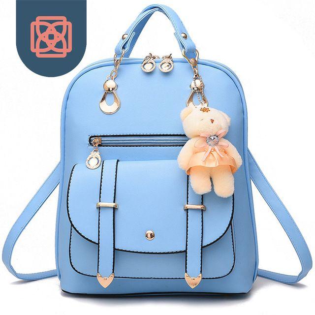 addfe1fd6c Women s School Bag Korean PU Leather Backpack Travel Bag Girl s Backpacks  female mochilas sac a dos Bagpack bear keychain