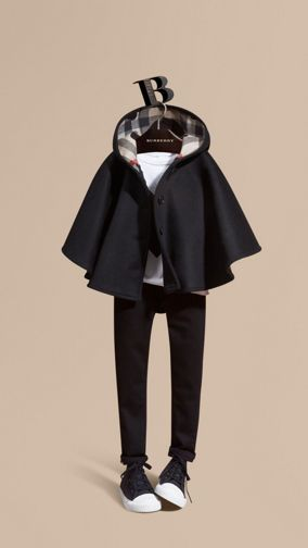 Heart and Check-lined Hooded Wool Cape
