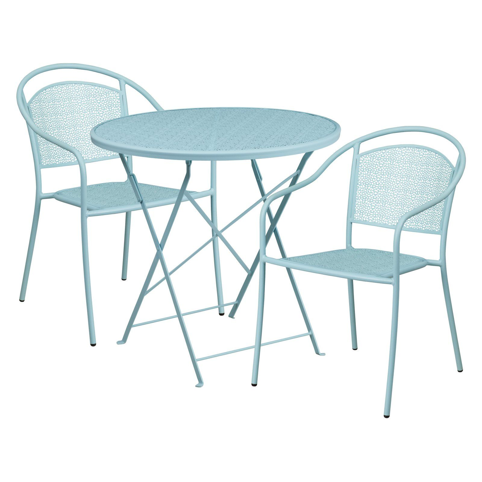 Outdoor Flash Furniture Steel Round Folding Patio Bistro Set With