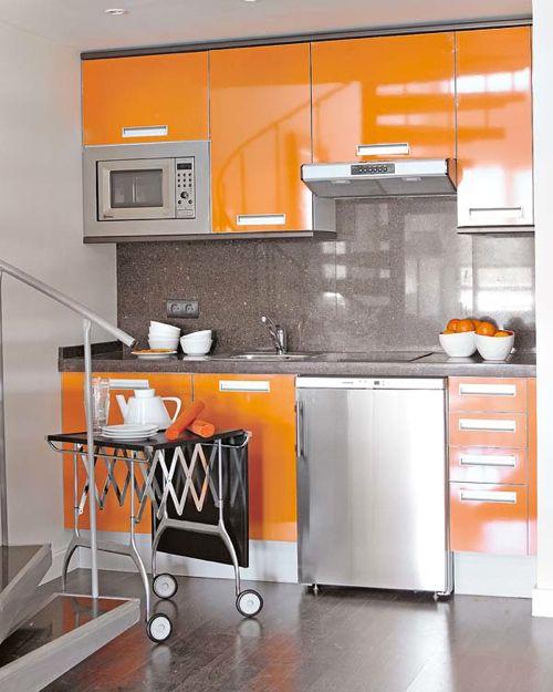 22 Beautiful Kitchen Design For Loft Apartment: Inspiration-kitchen-Orange-Lacquered-Cabinets-Loft