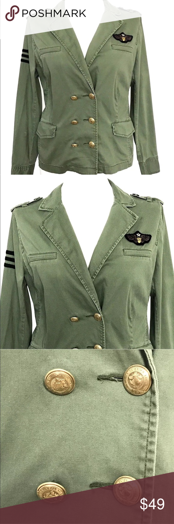 """CABI Sergeant Military Double Breasted Jacket CABI Sergeant Military Style Olive Green Double Breasted Jacket • Women's Size Medium • style no: 326, Double breasted Sergeant Jacket • Has a naturally worn look to it. Has sharpie inside above the tag. Otherwise in good preowned condition with normal signs of use. APPROXIMATE MEASUREMENTS Garment laying Flat: •CHEST pit to pit: 20.5"""" •SHOULDER TO SHOULDER: 18"""" •SLEEVE LENGTH Shoulder seam to cuff: 25"""" •WAIST: 18.5"""" •HIPS: 22"""" •LENGTH (Bottom of…"""