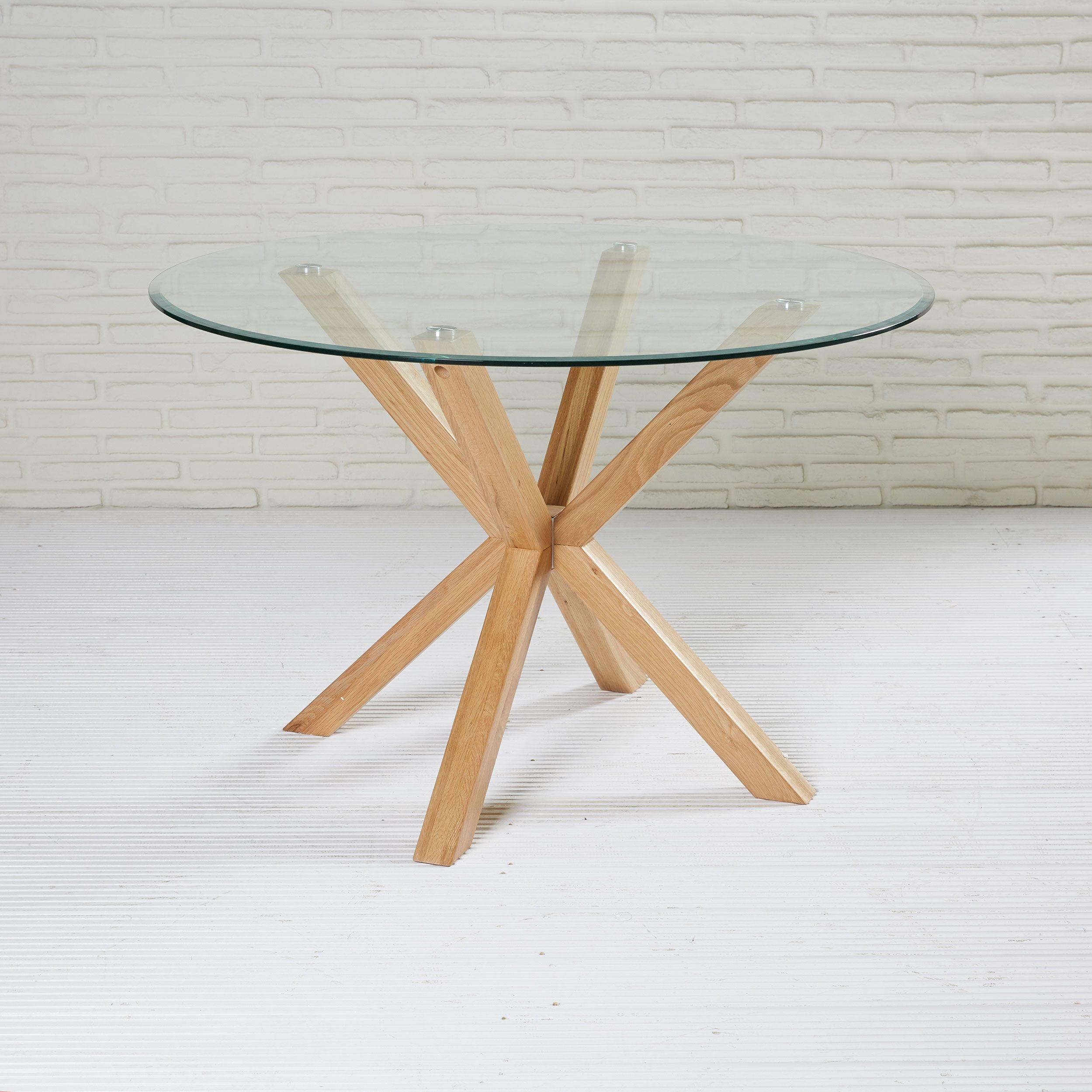 Runder Esstisch Mit Glasplatte Tisch Esstisch Esszimmertisch Glasplatte Holz Glastische Esstisch Runder Esstisch