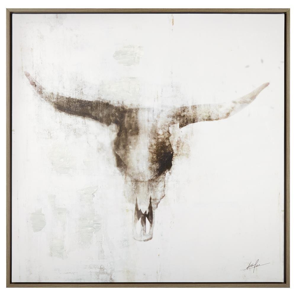 Bull Skull Framed Art Canvas Framed Art Wall Decor