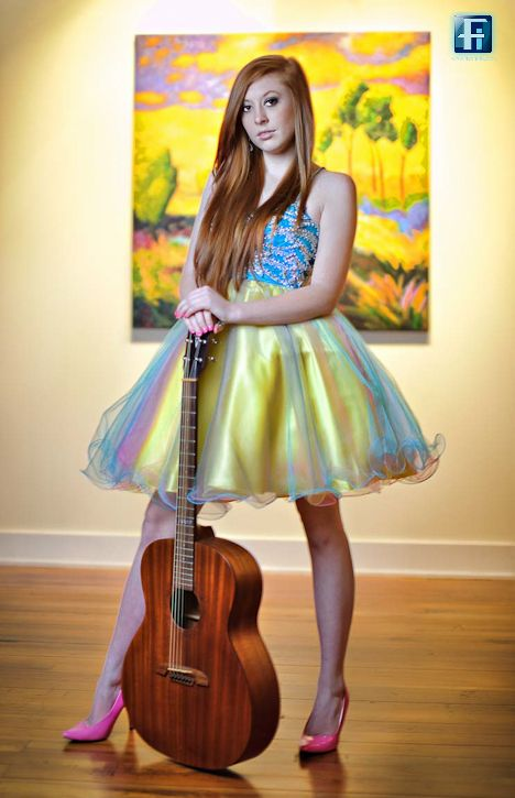 Cool prom dress accented with cool colors and guitar | Our Senior ...
