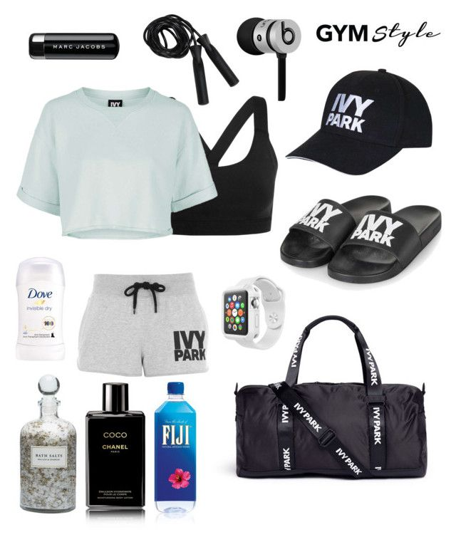 """""""Ivy Park style at the gym"""" by breeyvonne ❤ liked on Polyvore featuring Ivy Park, Topshop, Mullein & Sparrow, Beats by Dr. Dre, Marc Jacobs, Chanel and Apple"""