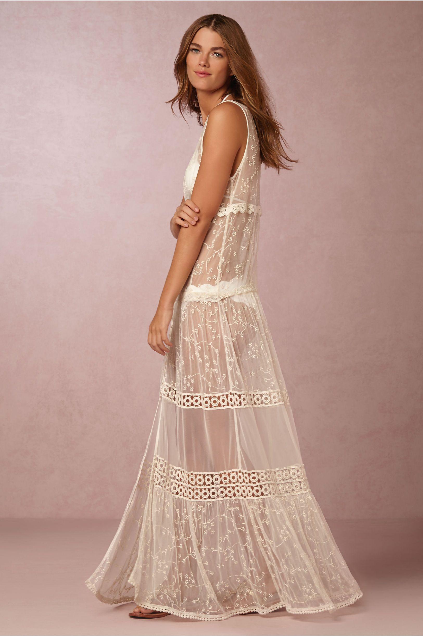 BHLDN Riona Sheer Gown in Beach & Honeymoon Cover Ups at BHLDN ...