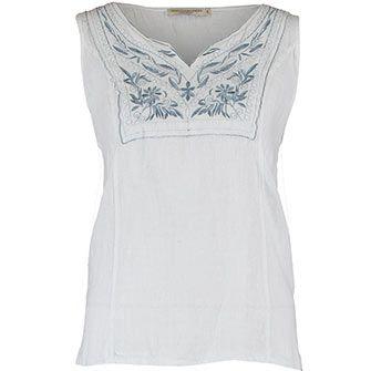 dac8719c4c41 Vanessa Alexandra White Linen Floral Vest Top