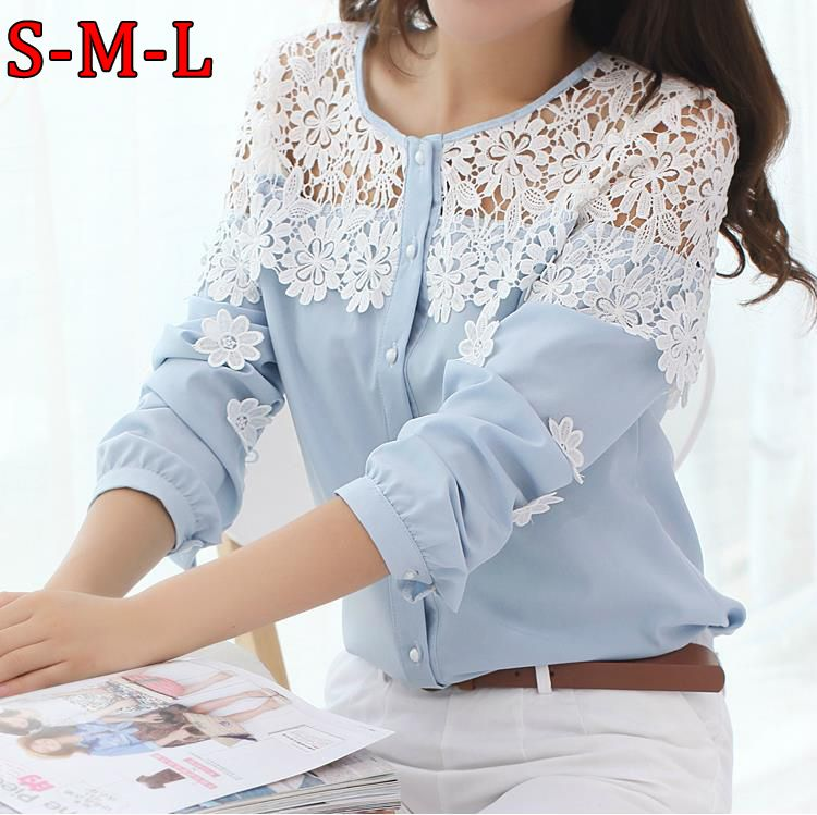 2014 Spring and Summer Women blouse Long sleeve Hollow out Lace Blusas lace  Patchwork Chiffon shirt