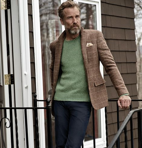 Rainer Andreesen wearing Brown Plaid Wool Blazer, Green Crew-neck ...