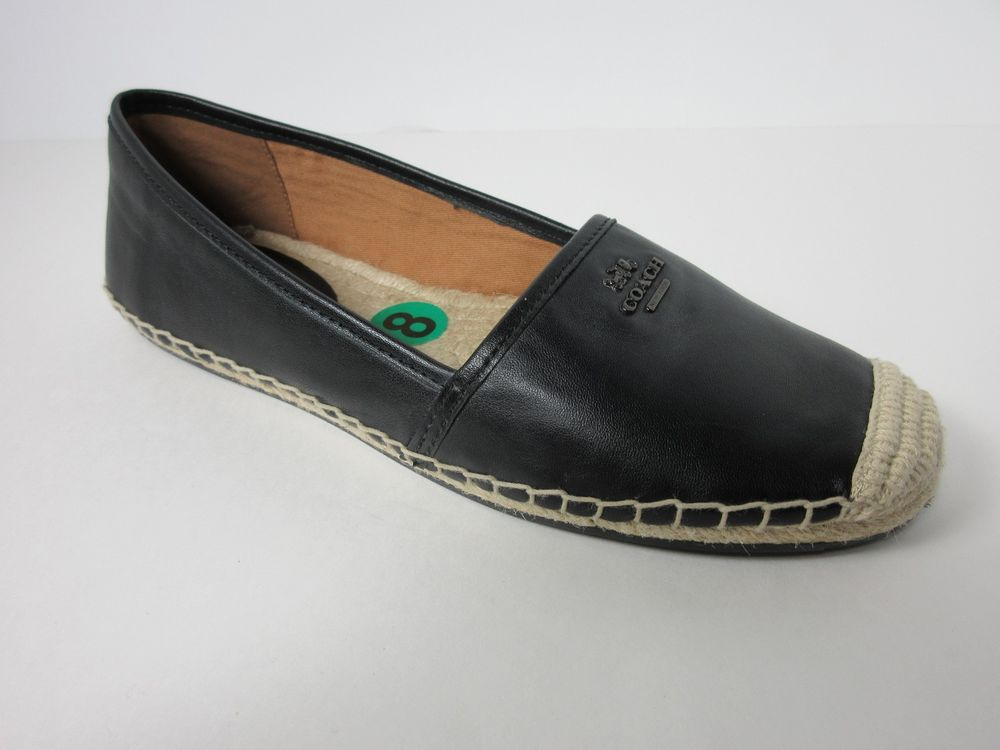 91d16fc81ed New Coach Rhodelle Espadrille Women Black Lamb Leather Flat Shoes Size 8 M   Coach  Espadrilles  Casual