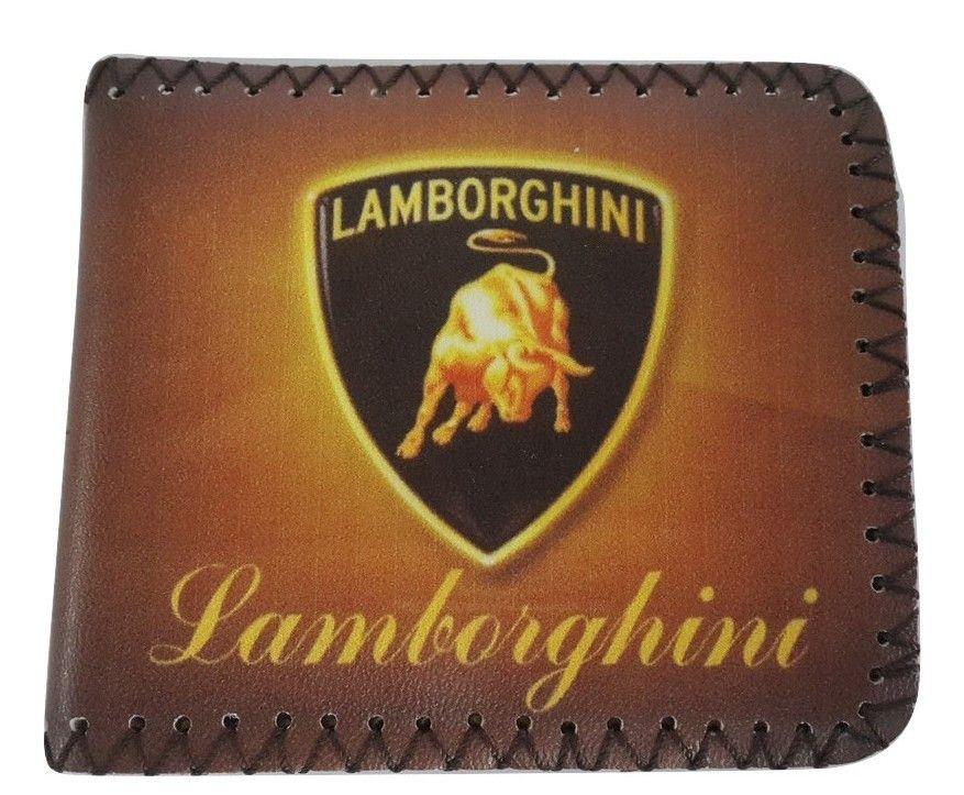 Lamborghini Leather Credit-Card Holder Wallet Black//Silver Logo