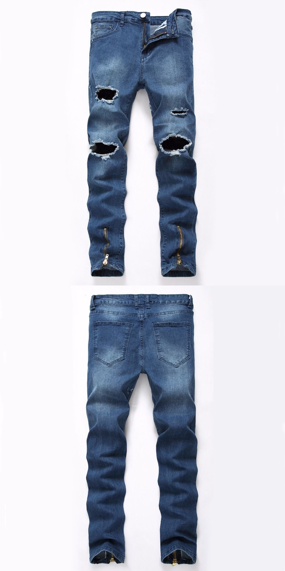 ac45daa7d4b Men Brand Designer Slim Fit Ripped Jeans Fake Zippers Men s Distressed Denim  Joggers Knee Holes Washed