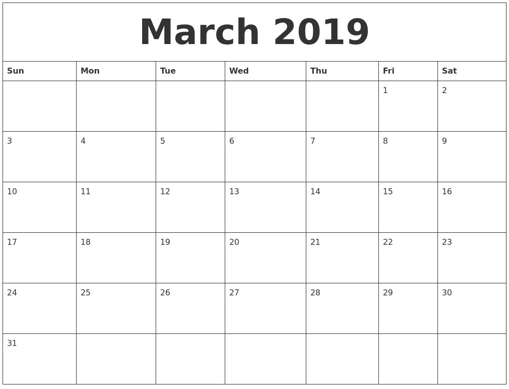March 2019 Calendar Pages Free Calendar March Monthly Calendar