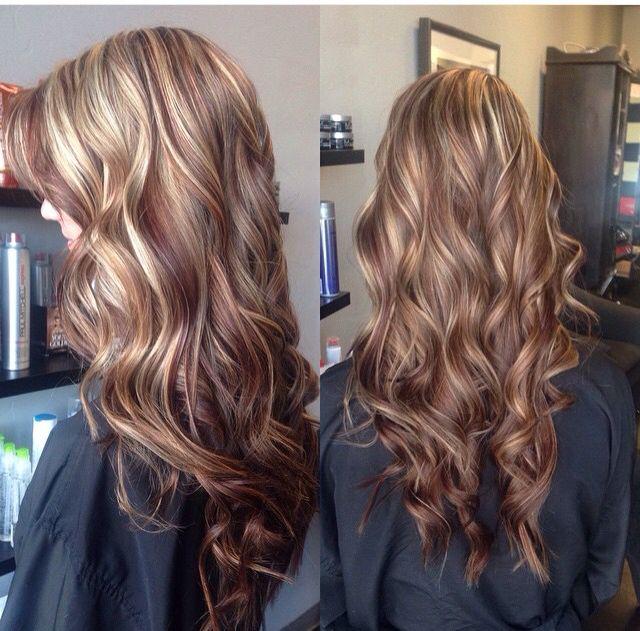 Red Lowlights Blonde Highlights Blonde Highlights Dark Brunette Hair Hair Styles