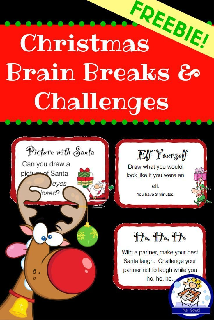 FREEBIE: Christmas Brain Breaks and Challenges | TpT FREE LESSONS ...