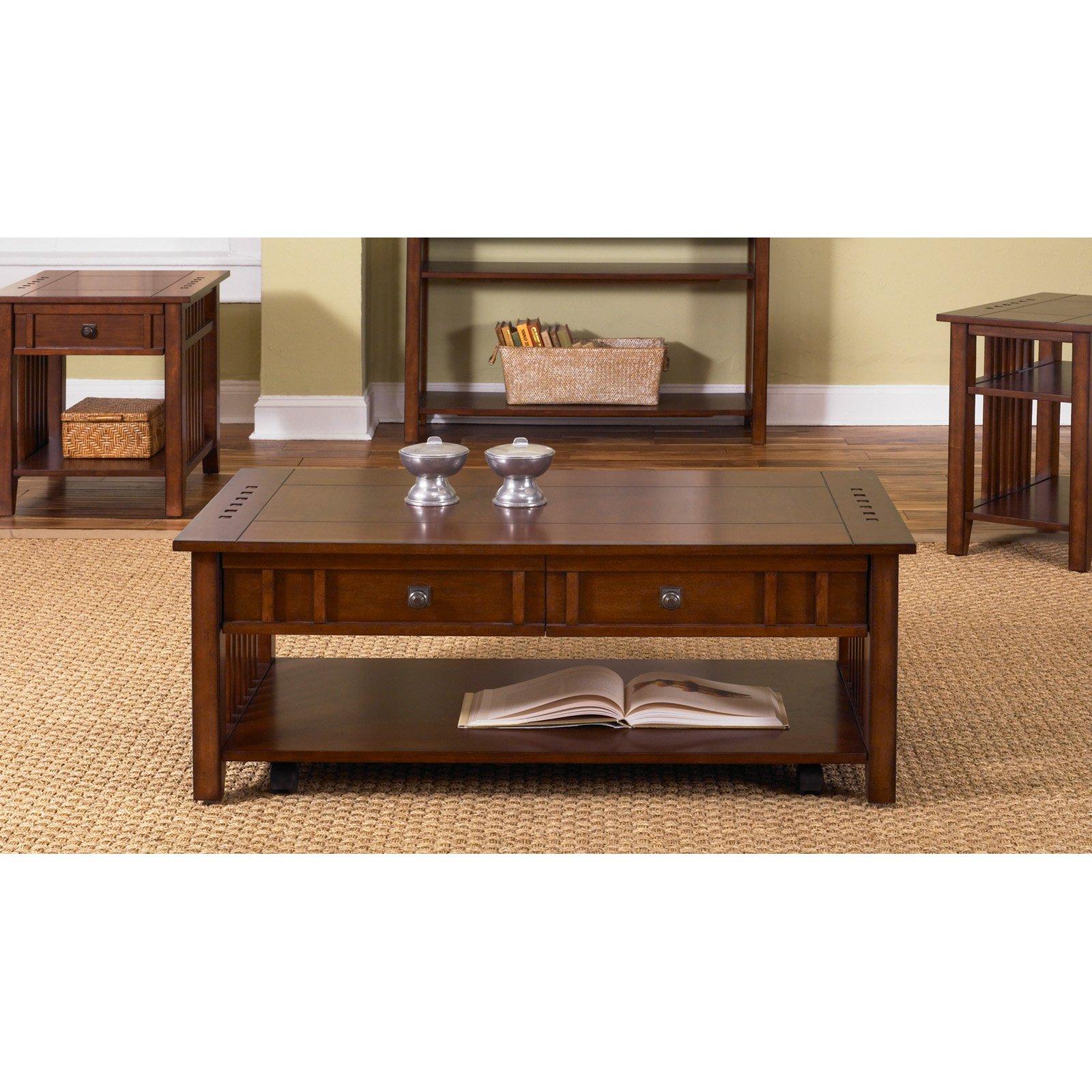 Prairie Hills Rectangular Coffee Table With Drawers Satin Cherry