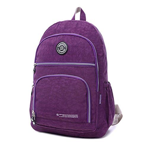 Waterproof Nylon Travel Satchel Shoulder Bag Backpack School Rucksack ( Purple) 4170c1ea5b92c