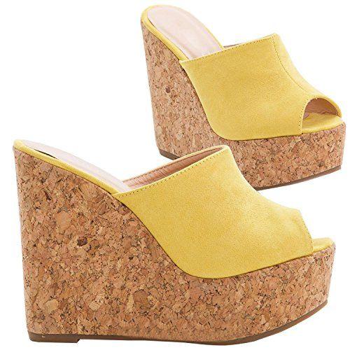 Womens Slip on Platform Wedge Heel Slides Cork Peep Toe
