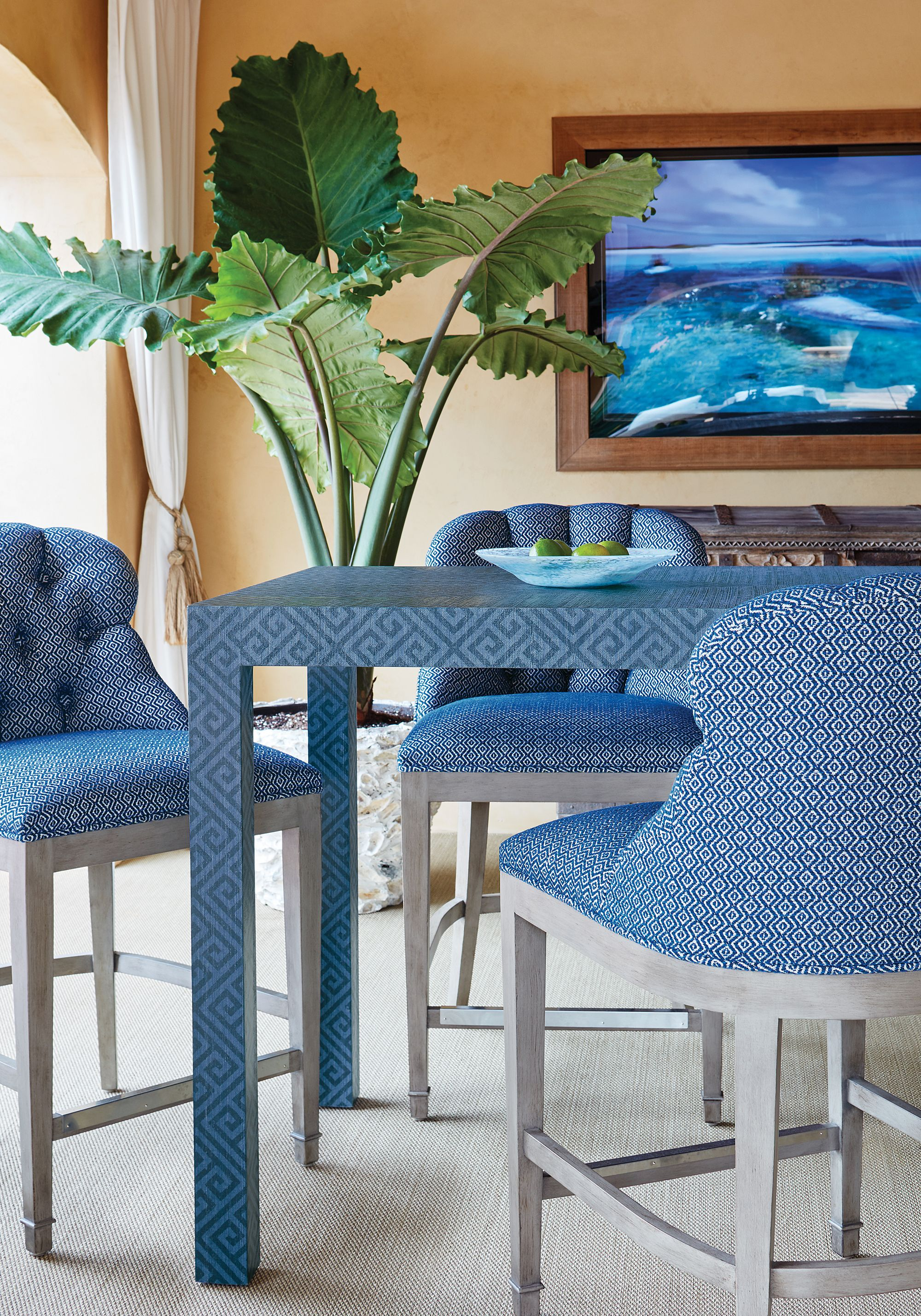Middleton Bar Stool in Talisman woven fabric in Blue Wrapped Dining ...