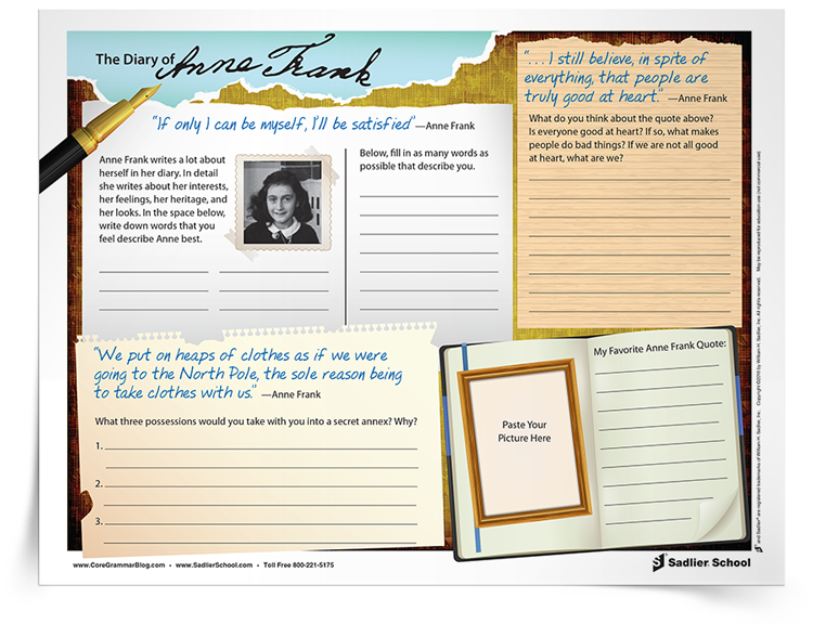 Worksheets Anne Frank Worksheets anne frank timeline create a and charts diary of activities that will strengthen descriptive writing
