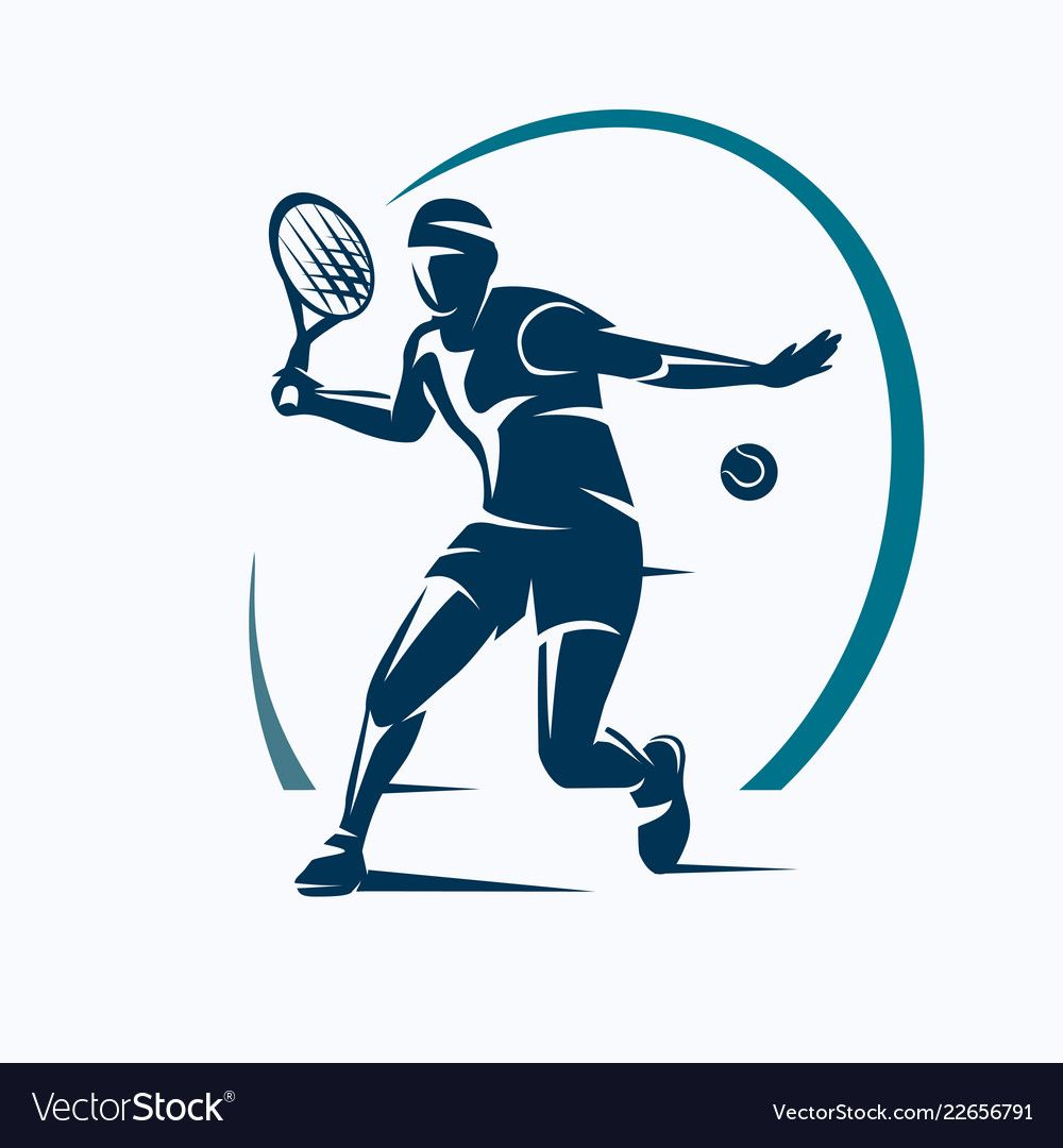 Tennis Player Stylized Silhouette Emblem Or Logo Vector Image On 2020 Spor