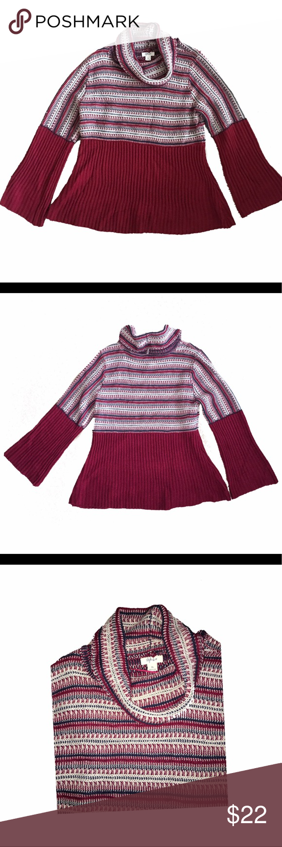 d4df0afea6b Style   Co women s babydoll cowl Neck cranberry Sweater features no lining