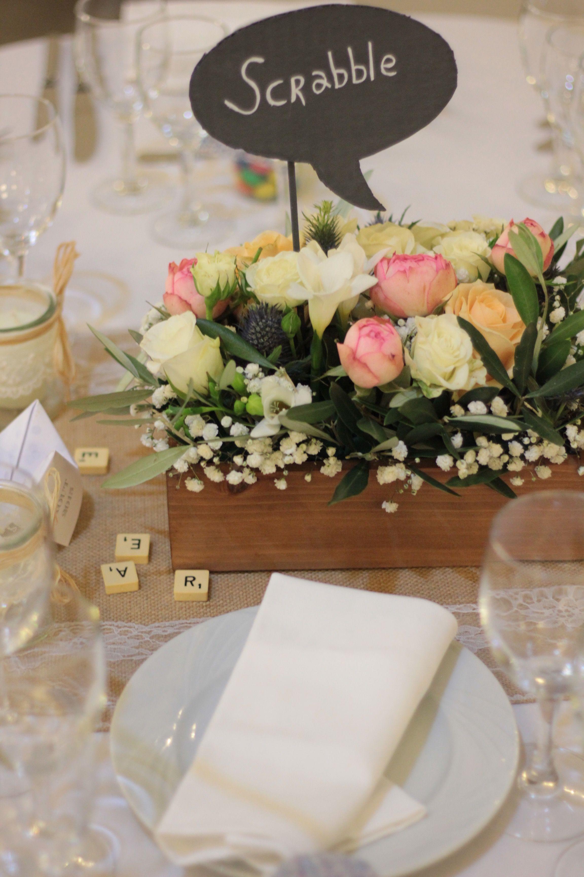 Centre De Table Mariage Boite En Bois Fleurs Jute Jeux De