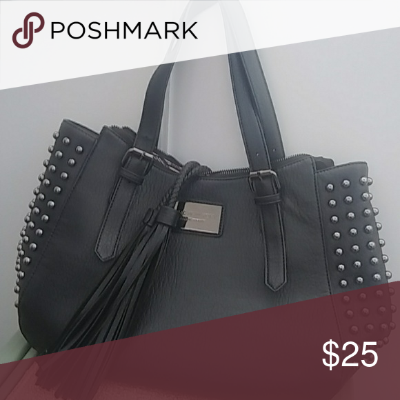 Black Marc New York Tote Bag With Silver Studs Tassels Double Strap Andrew Bags Shoulder