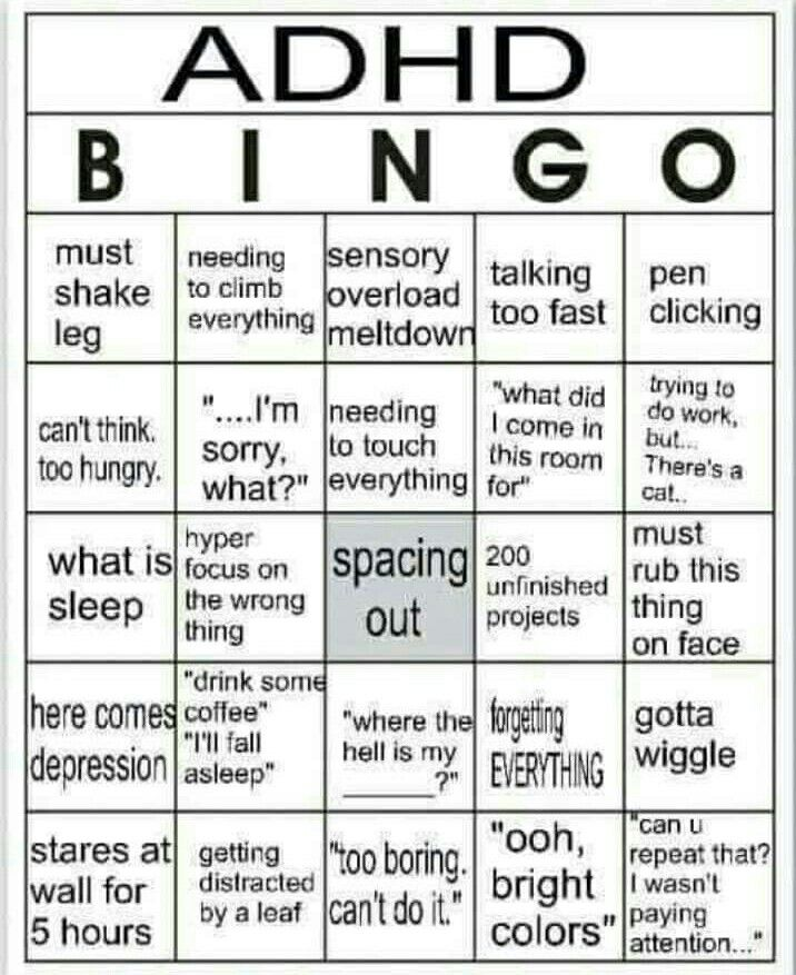 434f19fb236d ADD ADHD Bingo meme. Attention Deficit Hyperactivity Disorder ...
