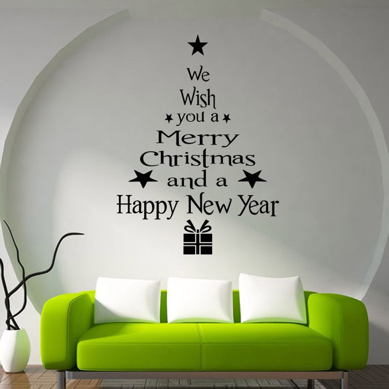 DIY Christmas Tree English Merry Removable Wall Stickers Vinyl - Christmas wall decals removable