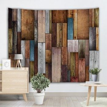Vintage Wood Texture Wall Decoration Tapestry Colormix W71 Inch