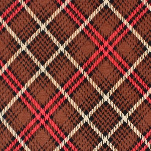 "Brown Black Plaid Cotton Jersey Blend Knit Fabric - Love this print!  Pretty plaid design in brown, red, and black on a cotton jersey rayon blend knit.  Fabric has a nice stretch, lighter to mid weight.  Biggest plaid diamond measures 6 1/2"".  ::  $6.50"