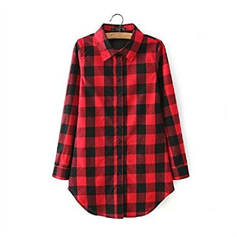 228e73c4b74a8 Womens Checked Long Sleeve T-shirt Ladies Casual Loose Button Down Tops  Blouse (US(2-4)(Asia M)