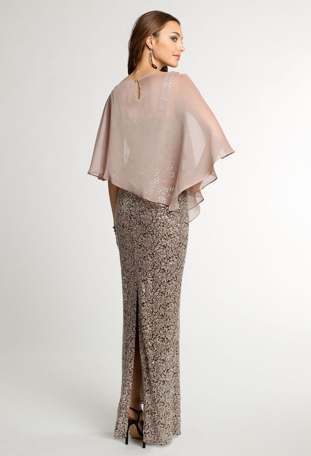 Sequin Lace Dress with Chiffon Capelet from Camille La Vie and Group ...