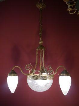 Sac à Perle Kronleuchter Antik   4 Fl. Jugendstil Lampe Antik, Sehr