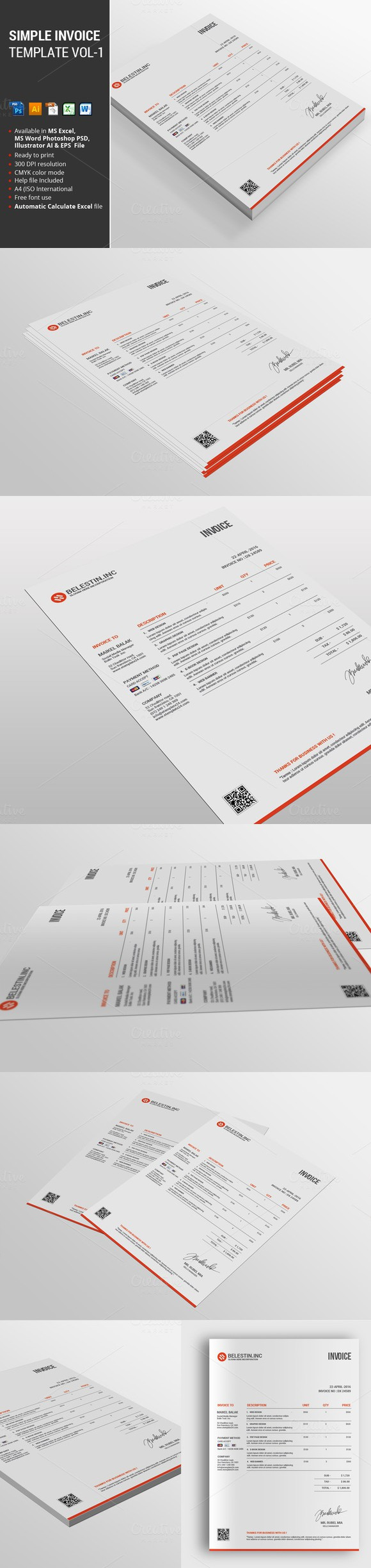 Simple Invoice Template Vol 1   Pinterest   Stationery templates and     Simple Invoice Template Vol 1