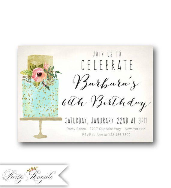 Cake 60th Birthday Invitations For Women Her 40th 50th 70th Or Any Age Surprise Dinner Brunch Lunch
