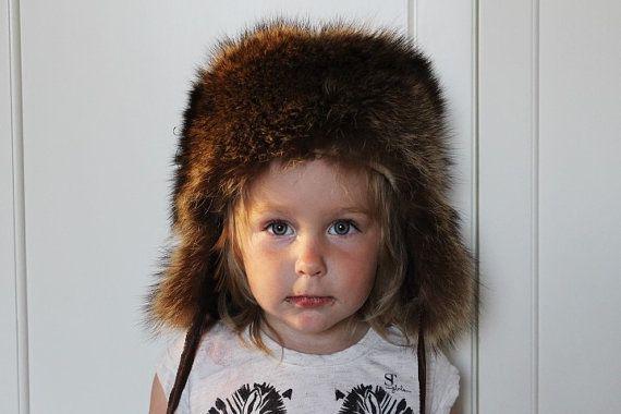 Vintage Kids Fur Hat Fur Ushanka Toddler Natural Fur by SkySecrets ... 476a6cdcf27