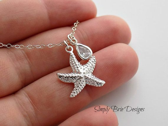 Sterling Silver Starfish Necklace Diamond CZ by SimplyBrieDesigns