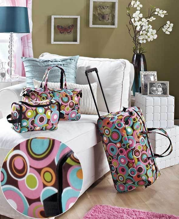 3 Pc Women's Luggage Set Rolling Geo Circle Suitcase Tote ...