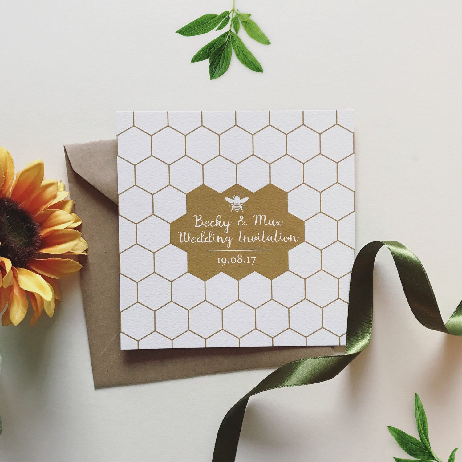 Gold foiled/printed Honey Bee wedding Invitations and other ...
